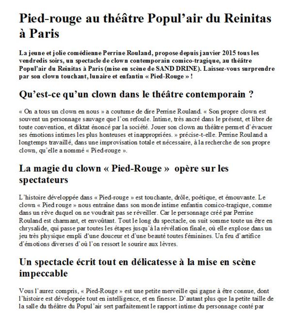 PIED-ROUGE -  SEULE  EN SCENE - De et par Perrine Rouland 1h15