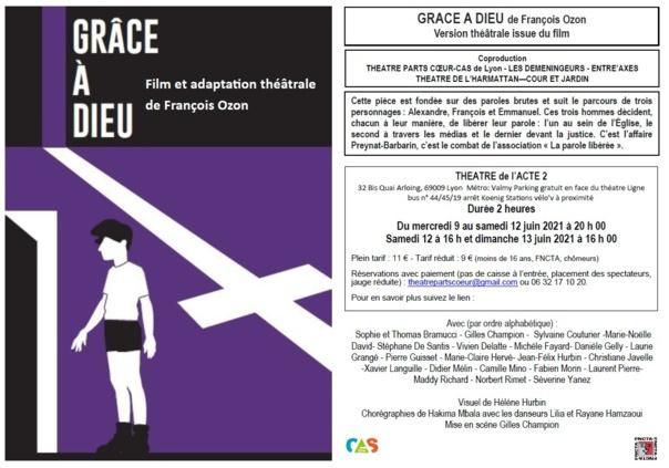 GRACE A DIEU de Francois Ozon - Version Théâtrale issue du film - Durée 2h