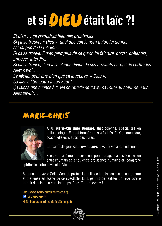 Et si Dieu était laïc ?! Un one-woman-show décoiffant - Marie-Christine Bernard